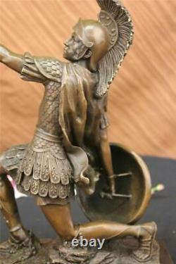 Bronze Sculpture Roman God Warrior Statue Signed Drouot Figure Art Deco