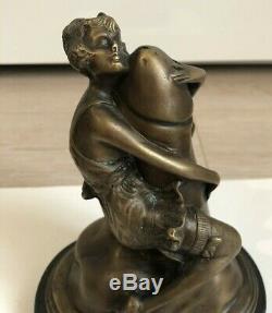 Bronze Sculpture Signed Bruno Zach Curiosa Erotic Woman Statue Art Deco
