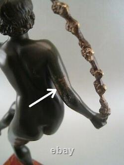 Bronze Sculpture Statuette Art Deco Nude Dancer By Joe Descomps (1869-1950)