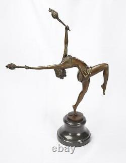 Bronze Sculpture The Flame Leaper Art Deco Woman Torch Dancer Fire Dancer