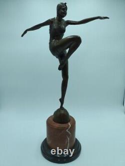 Bronze Signed Phillipe Style Art Deco Fire Dancer Con Brio Xxème