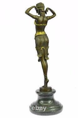 Bronze Statue Case Signed Demetre Chiparus Elegant Standing Dance Sculpture Art