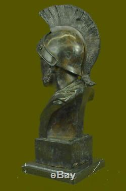 Bronze Statue Marble Figurine Bust Roman Warrior Art Nouveau