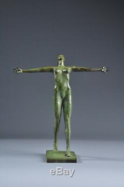 Bronze Statue Woman Nude Art Deco Green Patina Old Sculpture Nude Woman Brass