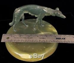 Bruno Zach Barzoï Bronze Sculpture Art Deco Ashtray Austria Russian Wolfhound