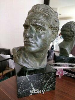 Bust Of Jean Mermoz Aviator Regulates Patinated Green Bronze Marble Base Art Deco