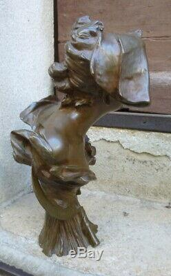 Bust Of Young Woman Art-new Signed And Stamp