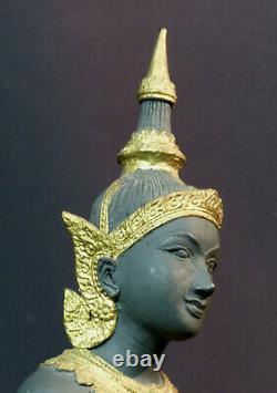 C N1 Art Asie Statuette Bronze Statue Dancer Indonesia Golden Costume 3.3kg48cm