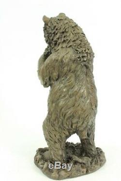 Cast Iron Metal Bronze Like Bear Grizzly Sculpture Animal Figurine Art Deco Statue