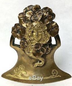 Ch. Korschann Bronze Art Nouveau Double Gold Patina Foundry Louchet-1900