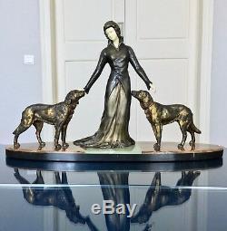 Chryselephantine Art Deco Signed Limousin Sculpture Bronze Onyx Marble Statue