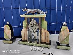 Clock Art Deco Panther Bronze Chrome 1920 1930 Sculpture Clock