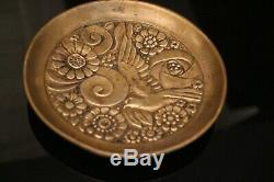 Cup Bronze With Floral Decoration With Bird Art Deco Signed Huygens G.