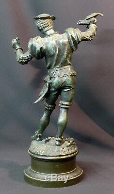 D 1870 Beautiful Bronze Statue Sculpture Signed Barye Falconer 43cm 5.2kg Art