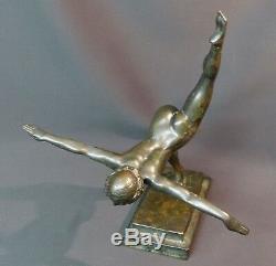 D 1930 Beautiful Bronze Sculpture Botinelly 37cm3.4kg Susse Art Deco Dancer Paris