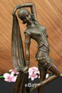D H Chiparus Bronze Statue Huge Long Gypsy Belly Dancer Cast Iron Sculpture Art