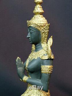 D N2 Art Asia Bronze Statue Statuette Dancer Indonesia Suit Golden 2.2kg34cm