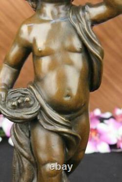 Delightful 100% Bronze Chair Boy Signed A. Moreau Foundry Mark Sculpture Art