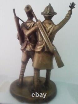 Demba And Dupont. Sculpture In Bronze By Senegalese Artist Wamba. African Art