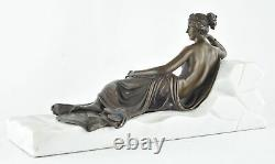 Demoiselle Statue Sculpture Naked Sexy Style Art Deco Bronze Massive Sign