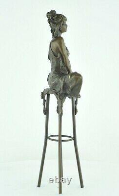 Demoiselle Statue Sculpture Sexy Style Art Deco Bronze Massive Sign