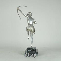 Diane À L'arc, Great Silver Bronze Sculpture, Art Deco, 20th Century