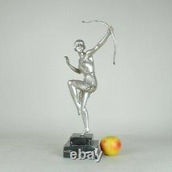 Diane Arc, Great Sculpture Bronze, Silver, Art Deco, 20th Century