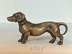 Dog Dachshund In Golden Bronze Patina Twentieth Art Deco
