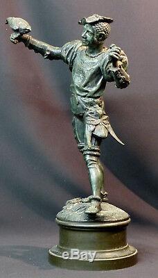 E 1870 Superb Statue Sculpture Bronze Signed Barye Falconer 43cm 5.2kg Art