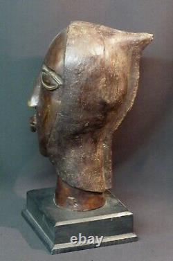 E African Art Superb Old Bronze Sculpture Face Bust Head 4.7kg35cm