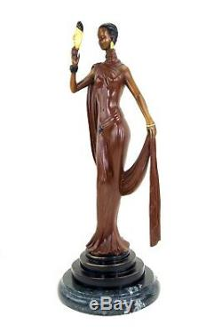Elegant Art Deco Bronze Sculpture Signed Dancer With Mask For Preiss