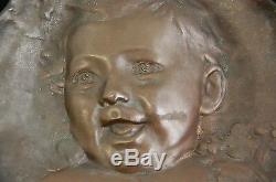 Emile Derré Bronze Plate Baby Child Art Nouveau Jugendstil Old Sculpture