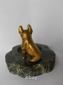 Empty Pocket Art Deco Bronze Sculpture 1930 Ballogue French Dog Statue