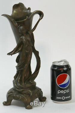 End Original Art Nouveau Vase With Bronze Sculpture / Nude Female Kassin 1985