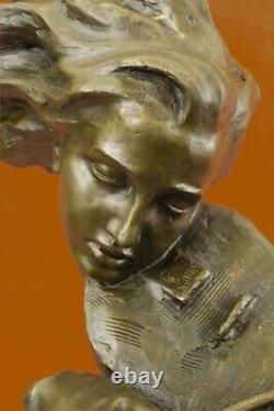 Erotic Chair Art Sexy Female Violin Reader Bronze Sculpture Statue Deco Sale