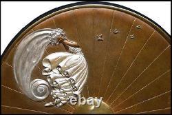 Erté Rare Butterfly Original Bronze Sculpture Table Mirror Signed Art Deco Art