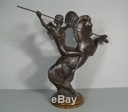 Female Amazon Warrior Horse Sculpture Art Deco Bronze Dafter Molins Balleste