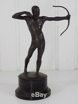 Figure Art Nouveau Bronze Warrior Sculpture Figurine Arc Base Wooden