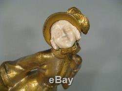 Figure Skater Sculpture Chryselephantine Style Art Nouveau Bronze Signed Vanrose