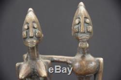 Figurine Sculpture Priomordial Couple In Bronze Dogon Art First African Mali