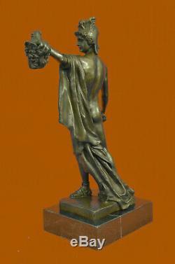 Flesh Warrior Man Statue Hand Made Bronze Sculpture Figurine Decor Art