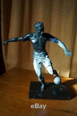 Footballer Marble Sculpture Regulates Bronze Patina Green Art Deco 1930 Sports Tbe