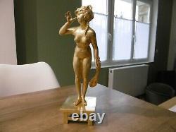 Former Bronze Era Art Nouveau Young Woman At The Statue Statue Sculpture