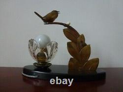 Former Bronze Lamp E. Guy Art Deco Birds Sculpture Old Lamp Bird Shade Floral