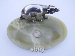 French Art Deco 1920s Silver Bronze Polar Ours Statuette Sculpture Map Of