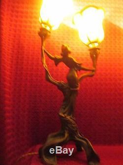 French Lamp Lamp Sculpture Art Deco Nouveau Jugendstil Torches 1900 / No. Bronze
