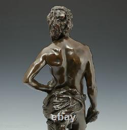 G. Recipon Scarf 1890 Rare Elegant Bronze Sculpture Art New 63 CM