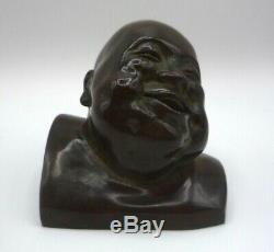 Gaston Hauchecome Sculpture Art Deco Bronze Signed Chinese Character