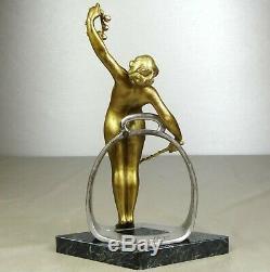 Geo 1880/1900 Wagner Tr. Rare Statue Sculpture Art Nouveau Dore Bronze Nude Woman
