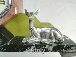 Georges Lavroff Rare Pendule Art Deco Sculpture Bronze Biche Silver No Chiparus